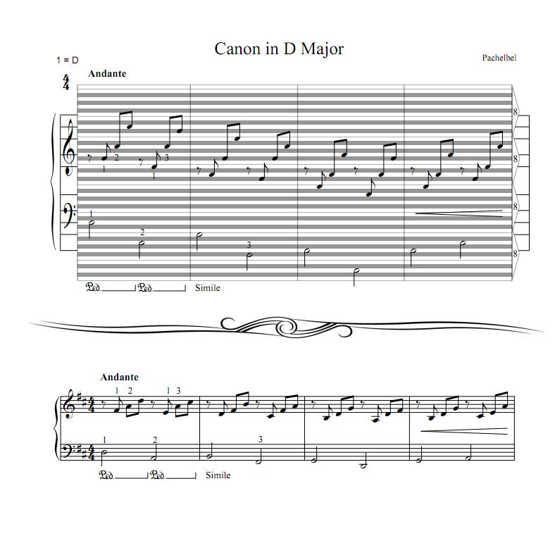 Pachelbel - Canon in D Major : haostaff.com - New Piano Roll Sheet ...