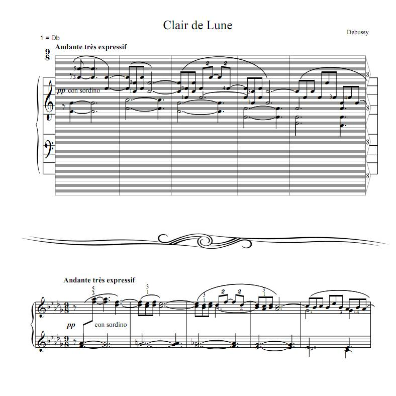 Piano free piano sheet music clair de lune : Debussy - Clair de Lune : haostaff.com - New Piano Roll Sheet Music
