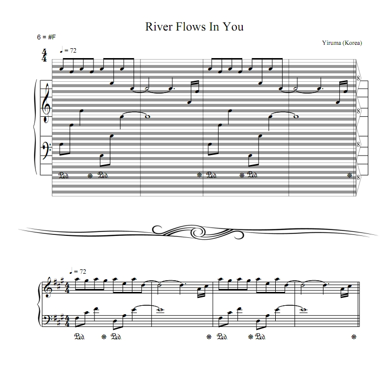 All Music Chords sheet music for river flows in you : Yiruma - River Flows In You : haostaff.com - New Piano Roll Sheet ...