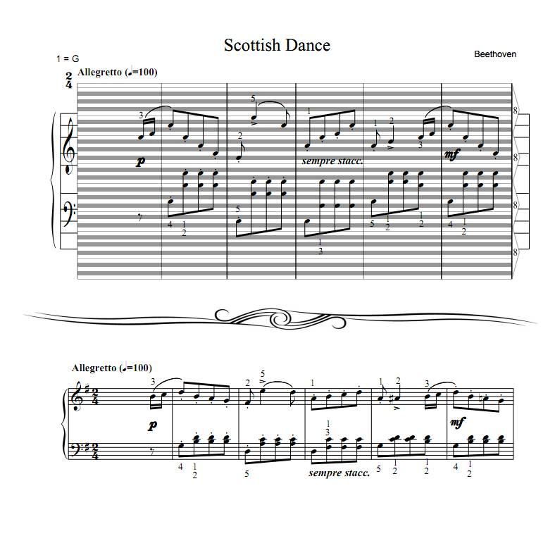 All Music Chords beethoven sheet music : Beethoven - Scottish Dance : haostaff.com - New Piano Roll Sheet Music